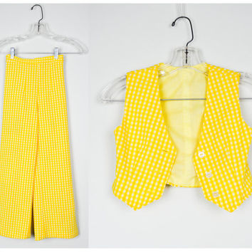Girls Vintage Outfit 7/8, 70s Clothing, Vintage Children's Clothing, Vintage Clothing, Yellow, Retro, Hippie, Wide Legged, Vest, Polyester