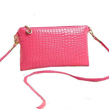 Pink or Purple Womens or Girls Small Clutch/ Shoulder Bag , Purse with Zipper