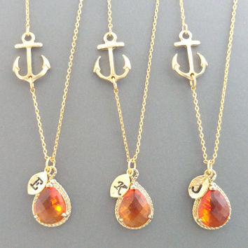 Set of 5-10, Personalized, Letter, Initial, Sideways, Anchor, Tangerine, Orange, Glass, Stone,  Gold, Silver, Necklace, Sets, Wedding, Gift