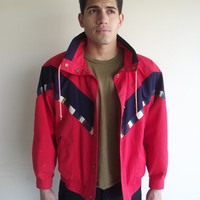 80's Red Nautical Unisex Collard Snap Button Windbreaker Jacket Sz. Medium