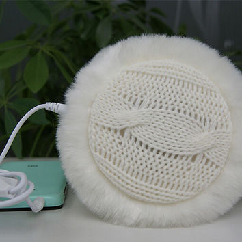 Womens Handmade Knitting Fur Winter Keep Warm Earmuff  Lovers Music Earphone Christmas Gift 293