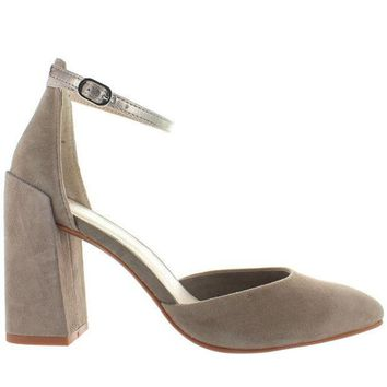 Seychelles Gaggle   Taupe Suede/platinum Leather Ankle Strap Pump