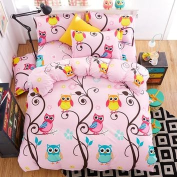 Nighthawk Owl Bedding Set Pink Duvet Cover Sets for Kids Girl Bed Linen Flat Bed Sheet Set Pillowcases Twin Full Queen King Size