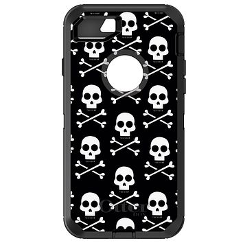 DistinctInk™ OtterBox Defender Series Case for Apple iPhone / Samsung Galaxy / Google Pixel - Black White Skulls Pattern