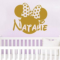 Name Wall Decal Minnie Mouse Head Bow Disney Vinyl Decals Sticker Custom Decals Personalized Baby Girl Name Decor Bedroom Nursery Baby Room Decor ZX138