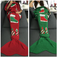 Hot Deal Birthday Gifts Christmas Knit Mermaid Sofa Blanket [9594669839]