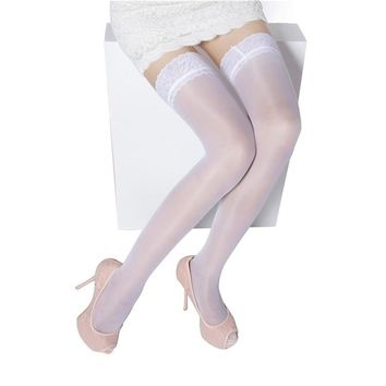 Women Sexy Stockings White Sheer Lace Floral Stocking Thigh High Long Stockings Over The Knee Socks