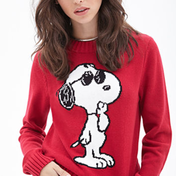 FOREVER 21 Joe Cool Crew Neck Sweater Red/White