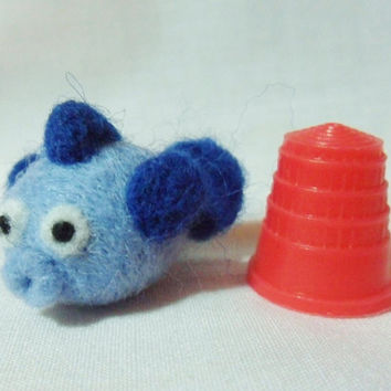 Needle Felted Fish - miniature fish - 100% merino wool - micro animal - wool felt puffer fish