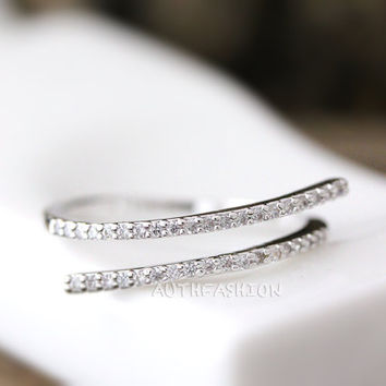 Adjustable Parallel Crystal lines Open Ring Simple Unique Ring Jewelry Silver Plated Gift Idea