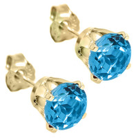 1.20 Ct Genuine Round 5MM Blue Topaz 14K Yellow Gold Women's Stud Earrings