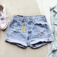Vintage Cuffed Jean Shorts- Light Wash