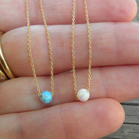 White Pink Opal Necklace, Tiny One 4mm Opal Necklace, Gold Necklace, Bridesmaid gift Opal Jewelry, Minimalist Delicate Everyday Necklace