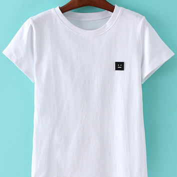 White Short Sleeve Smiley Face Patch T-shirt