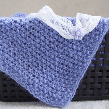 Blue Newborn Photography Prop, Knit Baby Wrap and headband set, Lacy mohair Wrap, Baby mini blanket, Photo Prop
