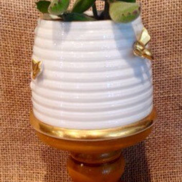 Lenox beehive relish server with succulent