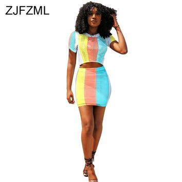 Rainbow Striped 2 Piece Matching Set Women Hollow Out Short Sleeve Crop Top And Bodycon Mini Skirts Sweatsuit Summer Club Outfit