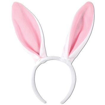 Bunny Ears White W Pink Lining wig mask 2017 For Halloween