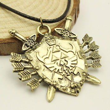 Legend of Zelda Triforce Shield Rope Leather Necklace Swoord and aarow Jewelry