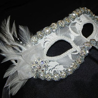 Lace Masquerade Mask in White and Silver