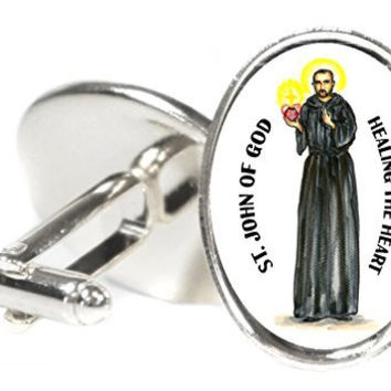 Saint John of God Patron of Healing the Heart Oval Silver Pair of Cuff Links