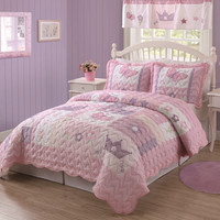 Princess Twin Quilt with Pillow Sham