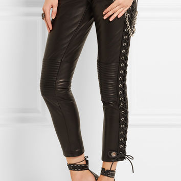 Ronald Van Der Kemp - Cropped lace-up leather skinny pants