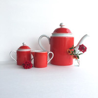 Vintage Fitz and Floyd Rondelet Rouge Coffee Pot Set
