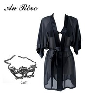 Au Reve Sexy Chiffon Black Lingerie Transparent Erotic Sleep Wear Clothes Female Bathrobe Temptation Nightwear Costume Mask Gift