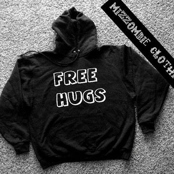 FREE HUGS  Hoodie hooded sweater grunge goth alternative punk