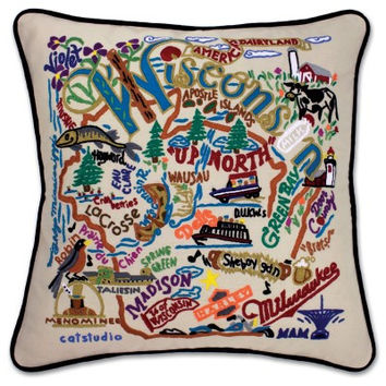 Wisconsin Hand Embroidered Pillow