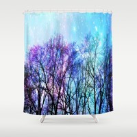 Black Trees Playful Pastels Space Shower Curtain by 2sweet4words Designs