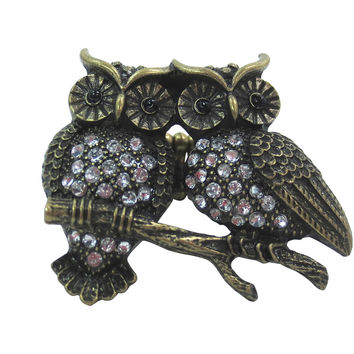 Vintage Inspired Owl Couple - Two Owls on Branch Fashion Ring