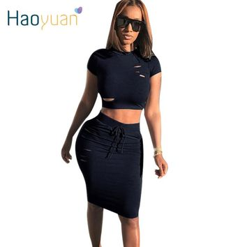 HAOYUAN Women Sexy Two Short Skirt Sets Hollow Holes Bodycon Two Piece Set Summer 2017 Slim Bandage Night Club Party 2 Piece Set
