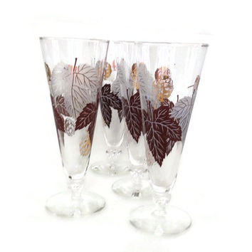 Vintage Pilsner Glasses-Beer Glasses-Gold and Brown Leaves-Set of  4-Breweriana- Mid Century - Retro Barware-