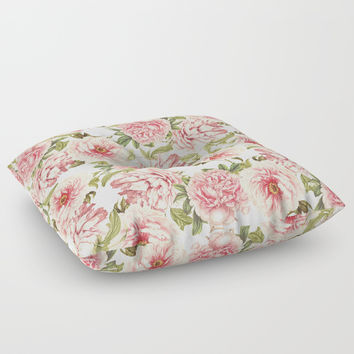 old fashioned peonies Floor Pillow by Sylvia Cook Photography