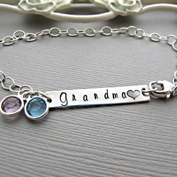 Grandma Bracelet, grandmother bracelet, Birthstone Bracelet, Personalized, Sterling Bracelet, Charm Bracelet, grandmother gift, Bar Bracelet