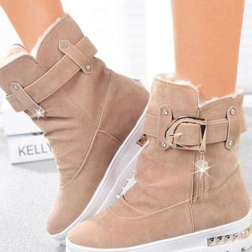 New Apricot Round Toe Sequin Rhinestone Fashion Ankle Boots
