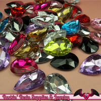 12 pcs ACRYLIC GEMS Faceted Teardrop Decoden Rhinestones 25mm