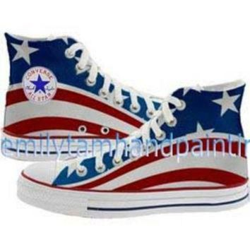 QIYIF custom converse american flag the stars and the stripes inspired converse shoes