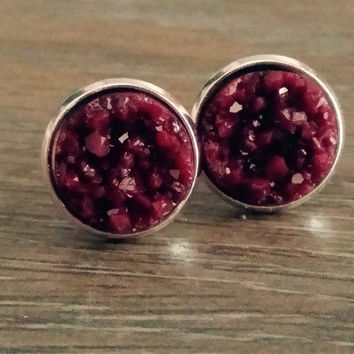 Druzy earrings- Maroon drusy silver tone stud druzy earrings