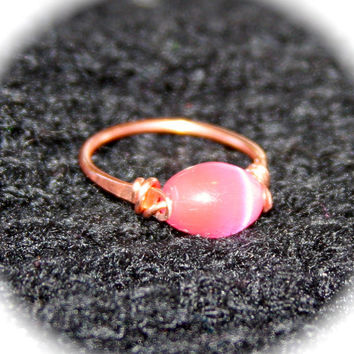 Pink Tigers Eye Copper Ring or Solid Sterling Silver Ring, Handmade Ring, Gemstone Ring, Toe Ring, Midi Ring, Woodland