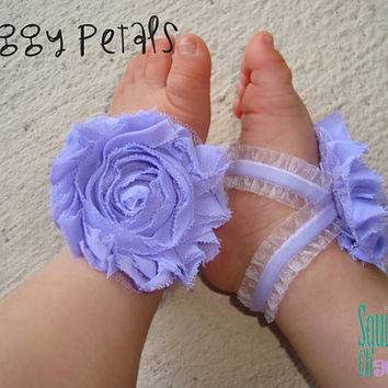Purple Ruffle Piggy Petals - ADORABLE Baby Barefoot Sandals Toe Blooms - Photo Props - Baby Shoes - Newborn Shoes - Toddler Sandals