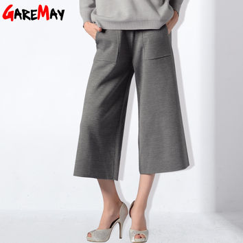 Wide Leg Pants For Women Calf-Length Trousers Knitted  Loose Pants Casual 2017 Women Pants Autumn Bell Bottom Pants GAREMAY 0433