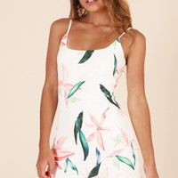 Way Out dress in white floral Produced By SHOWPO