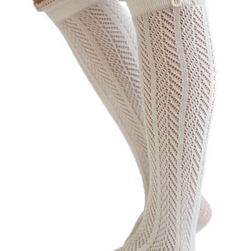 Ivory Knitted Boot Socks with Lace Trim & Buttons