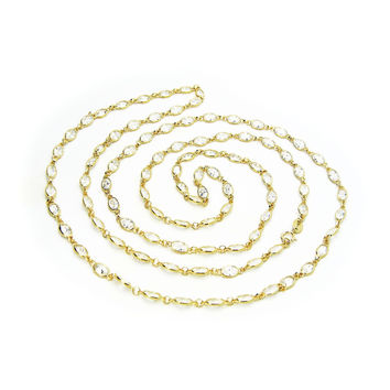 Diamond By the Yard Necklace (CZ) in 18kt Gold Plated Silver, Length: 36 Inches