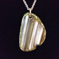 Green and brown quartz crystal geode slice natural stone pendant necklace