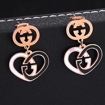 GUCCI Newest Stylish Women Cute Heart Earrings Jewelry Accessories