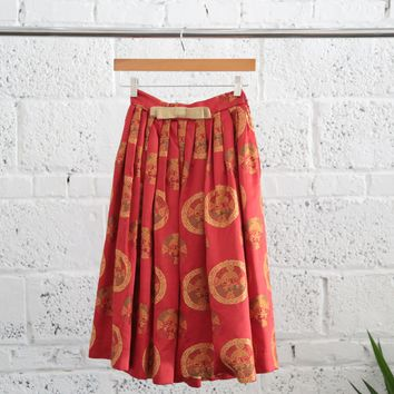 Vintage Asian Motif Embroidered Silk Blend Pleated Skirt